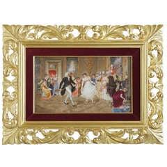 """A Fine 19th Century K.P.M Plaque Depicting """"The Dance Lesson""""."""