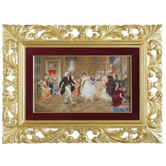 "A Large Berlin K.P.M Porcelain Plaque - ""The Dancing Lesson of Our Grandmother"""