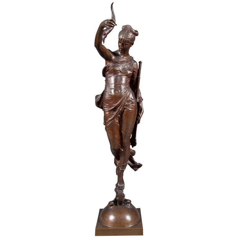"""19th C. French Bronze Figure of """" La Fortune"""" by  Auguste Moreau-Vauthier For Sale"""