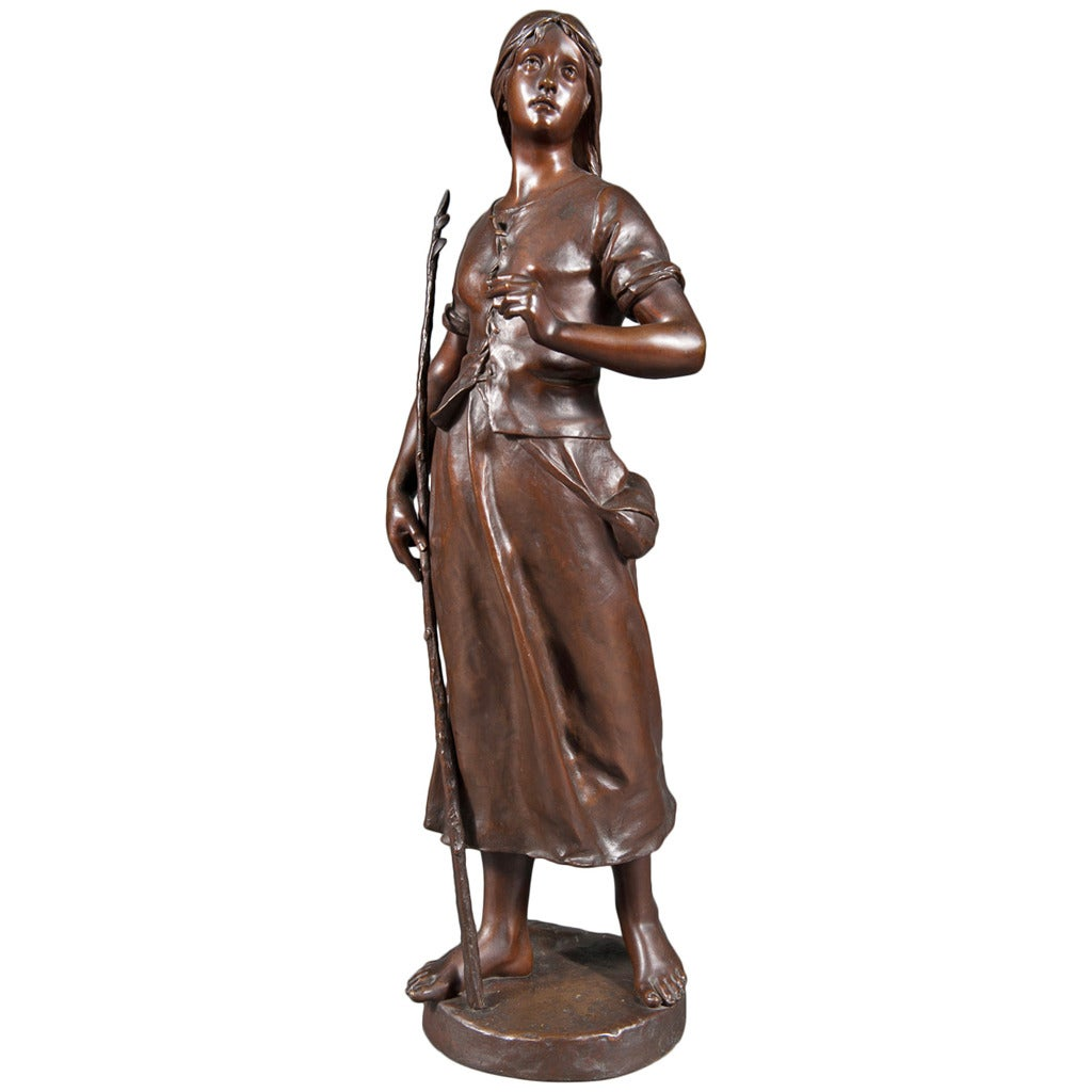 19th C. French Patinated Bronze of a Standing Peasant Women after Eug Marioton