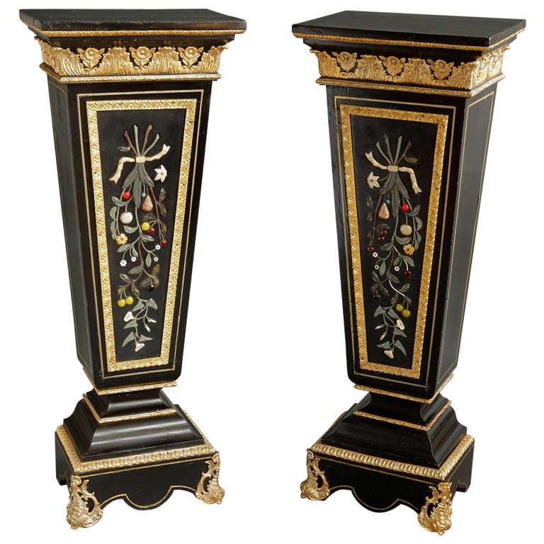 A Pair of Antique Italian Pietra Dura & Gilt Bronze Mounted Pedestals  For Sale