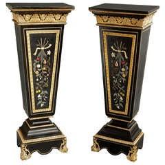 A Pair of Antique Italian Pietra Dura & Gilt Bronze Mounted Pedestals