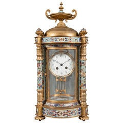 Champleve Enamel and Gilt Bronze Four Glass Regulator Clock by Hour Lavigne