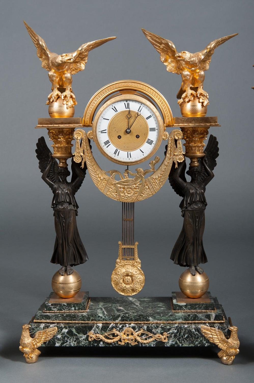 Second Empire French Empire Ormolu Bronze & Green Marble Three-Piece Clock Garniture Clock Set For Sale