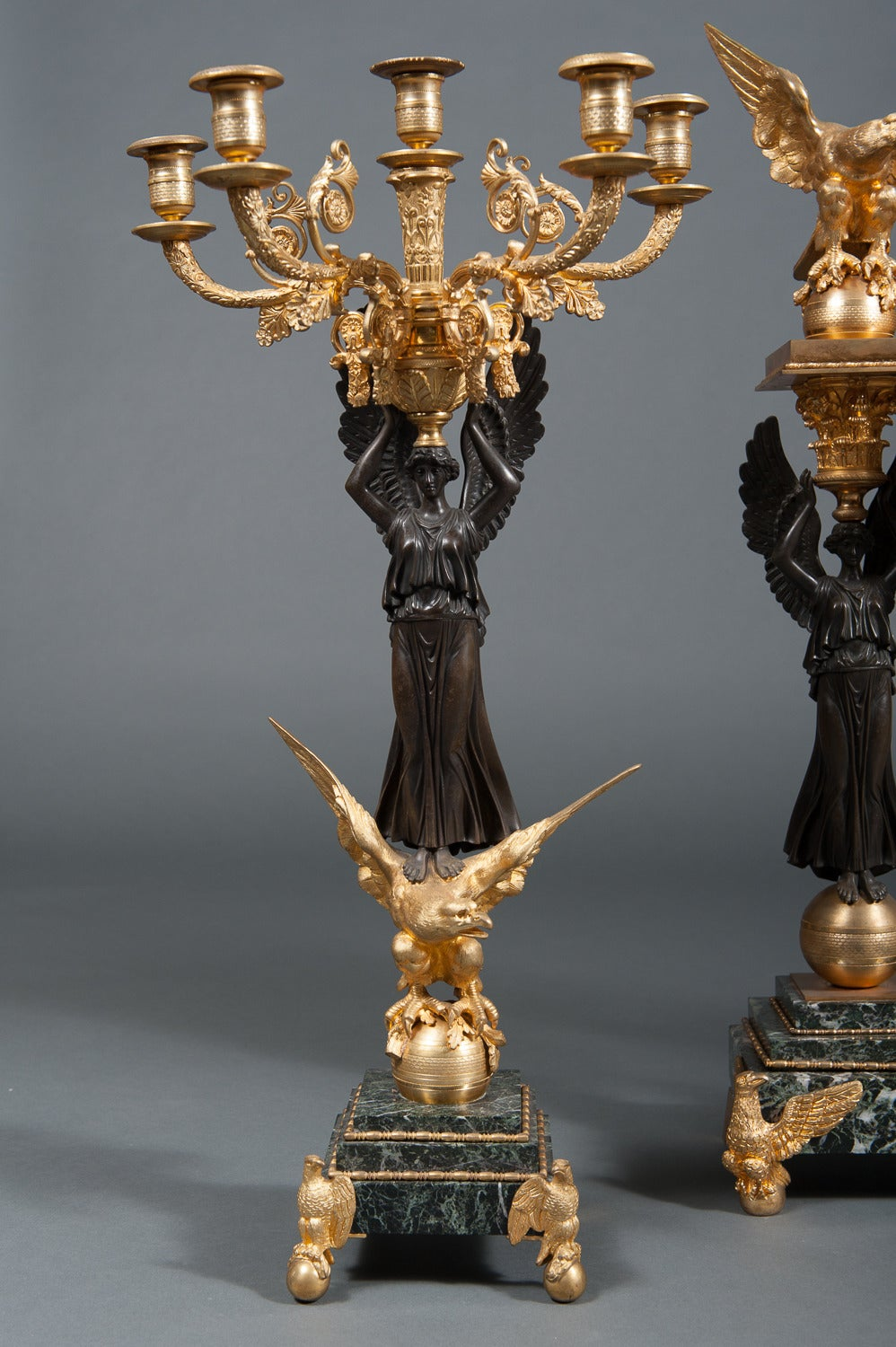 French Empire Ormolu Bronze & Green Marble Three-Piece Clock Garniture Clock Set In Excellent Condition For Sale In Los Angeles, CA