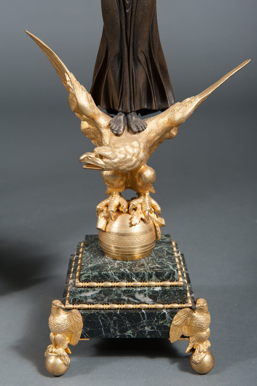 19th Century French Empire Ormolu Bronze & Green Marble Three-Piece Clock Garniture Clock Set For Sale