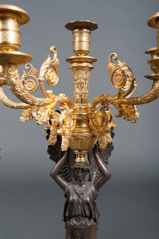 French Empire Ormolu Bronze & Green Marble Three-Piece Clock Garniture Clock Set For Sale 1
