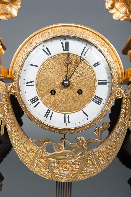 French Empire Ormolu Bronze & Green Marble Three-Piece Clock Garniture Clock Set For Sale 4