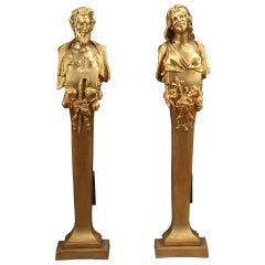 Pair of Late 19th Century Gilt-Bronze Fire Place Figural Bronze Andirons
