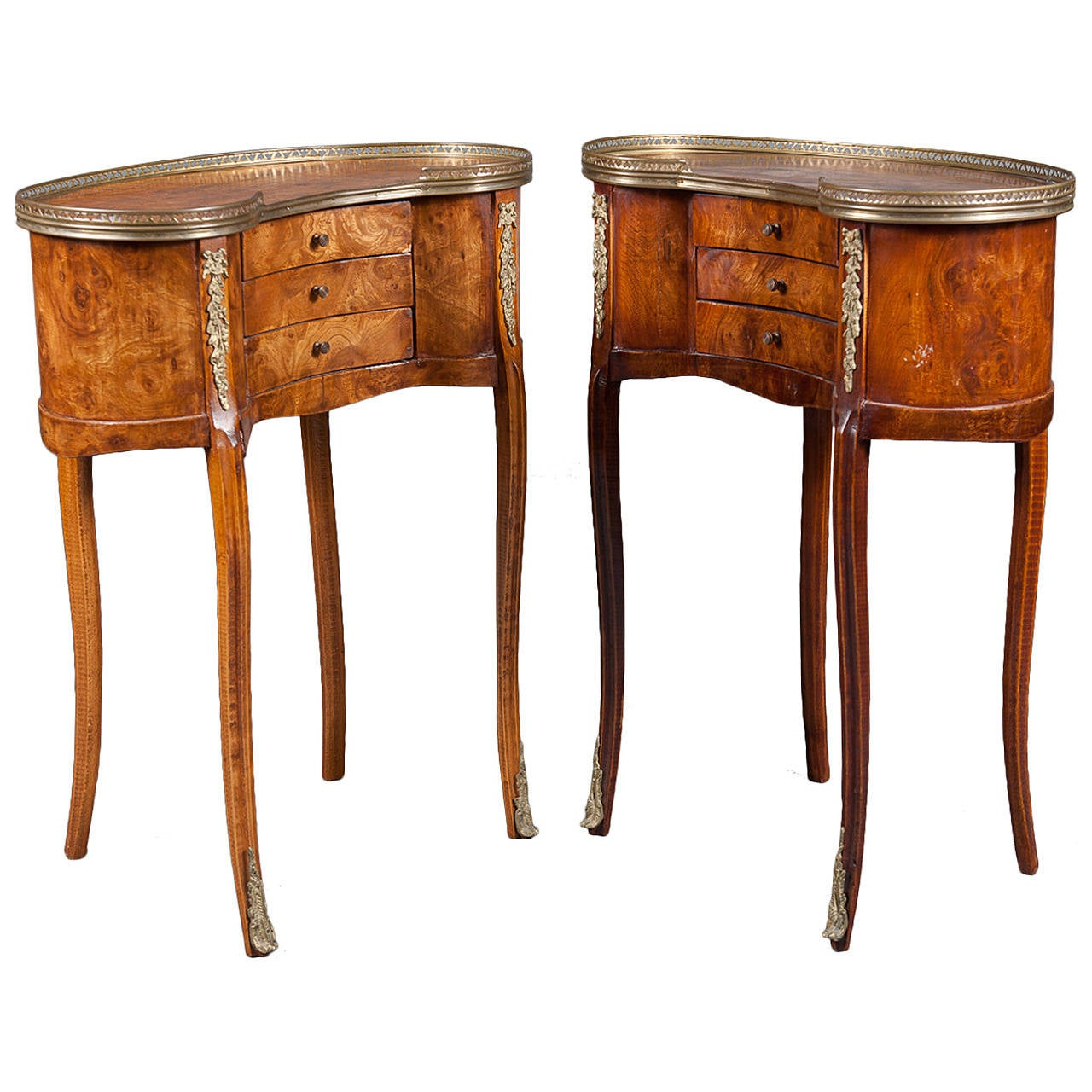 A Pair Of French Br Mounted Kidney Shaped Side Tables With Drawers For