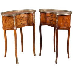 A Pair of French Brass-Mounted Kidney Shaped Side Tables with Drawers
