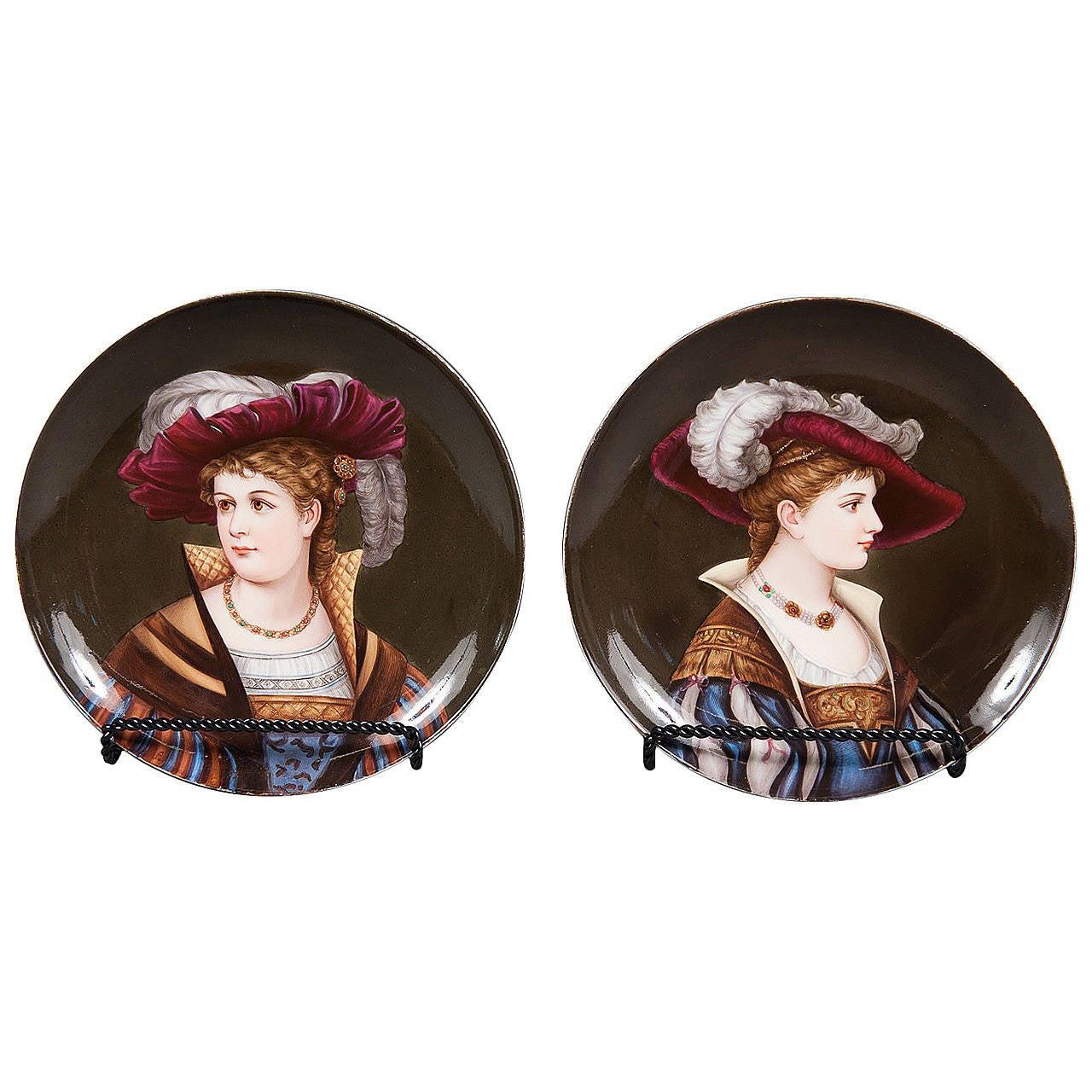 A Pair of 19th Century Vienna Hand Painted Porcelain Portrait Plates
