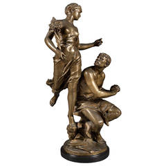 "A Late 19th Century French Gilt Bronze Depicting ""Industry Rewarded"""