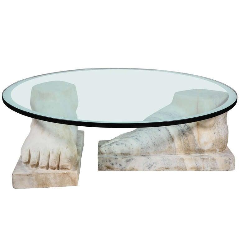 italian carrara marble feet coffee table 1960s at 1stdibs. Black Bedroom Furniture Sets. Home Design Ideas