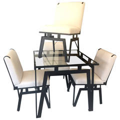 Original Walter Lamb for Pacific, Iron Table and Four Chairs, 1950s