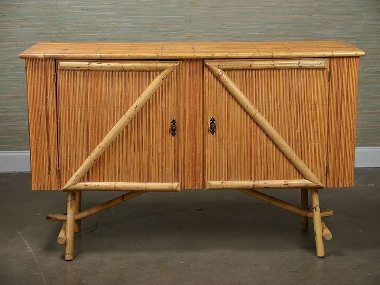 Vintage French Bamboo Buffet At 1stdibs