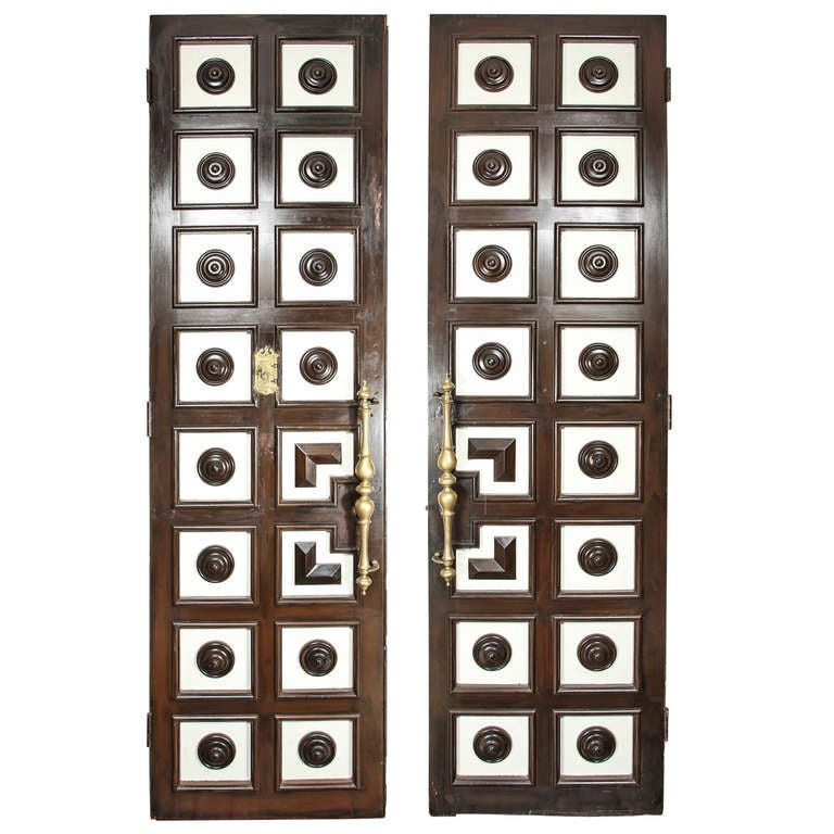 Los Angeles Ca Mid Century Modern Wood Garage Door Gate: 1930s Hollywood Regency Double-faced Coffered Doors At 1stdibs