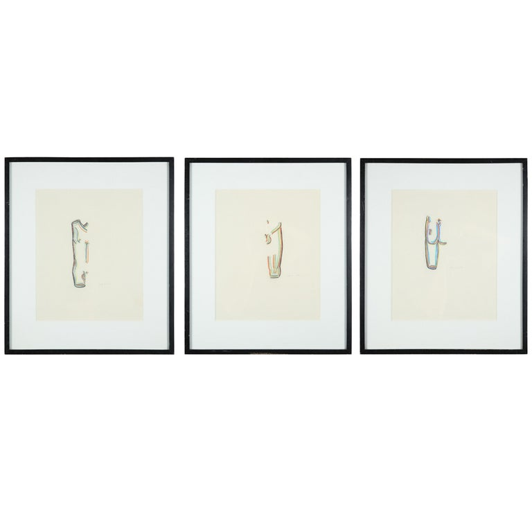 A Set of 3 Colored Pencil Drawings For Sale