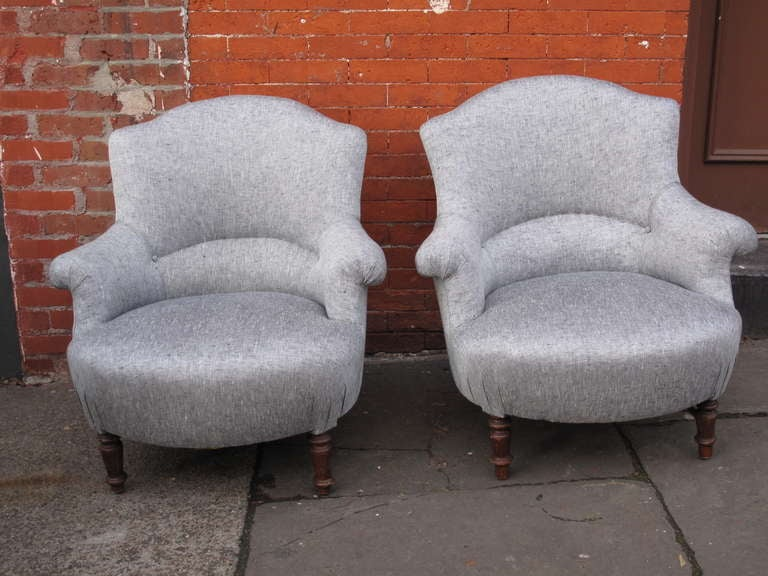 Pair of napoleon iii scroll arm slipper chairs at 1stdibs