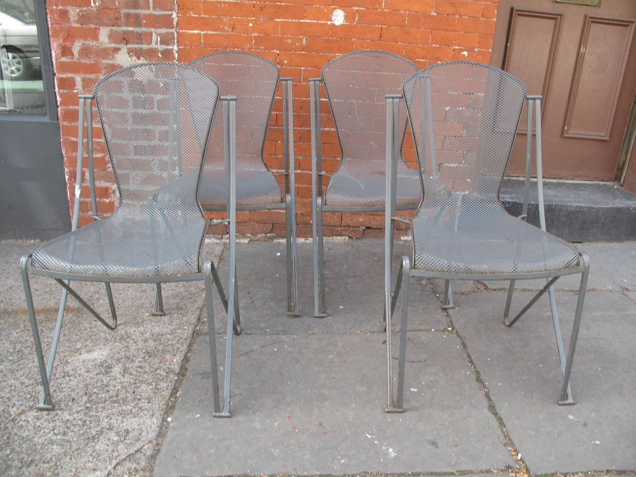 Set of Four Mid Century Outdoor Chairs at 1stdibs