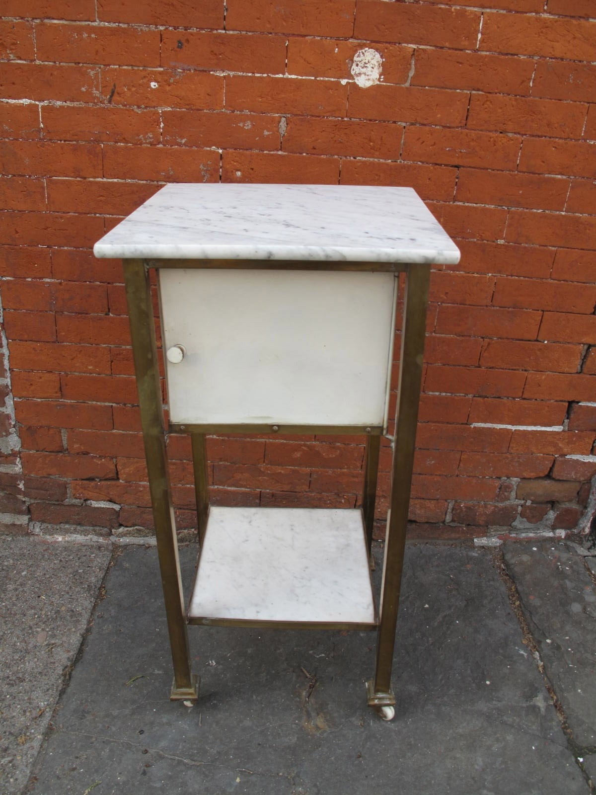 Marble Top And Brass Bath Cabinet At 1stdibs