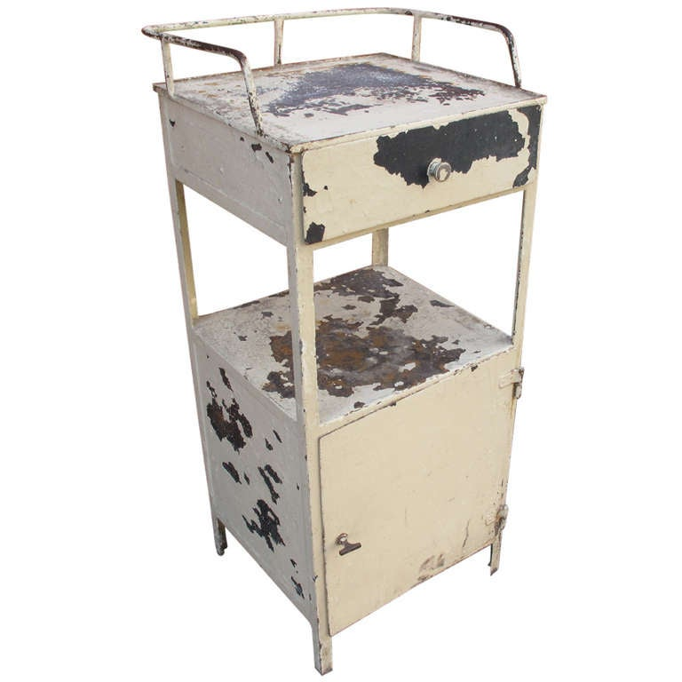 Industrial steel washstand in original ivory paint at 1stdibs for Industrial paint for metal