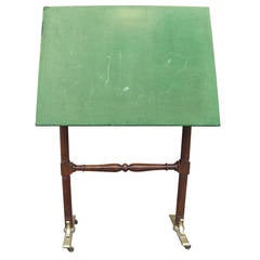Drafting Table with Felt-Covered Top and Brass Feet