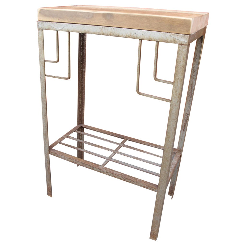 petite steel deco console at 1stdibs. Black Bedroom Furniture Sets. Home Design Ideas