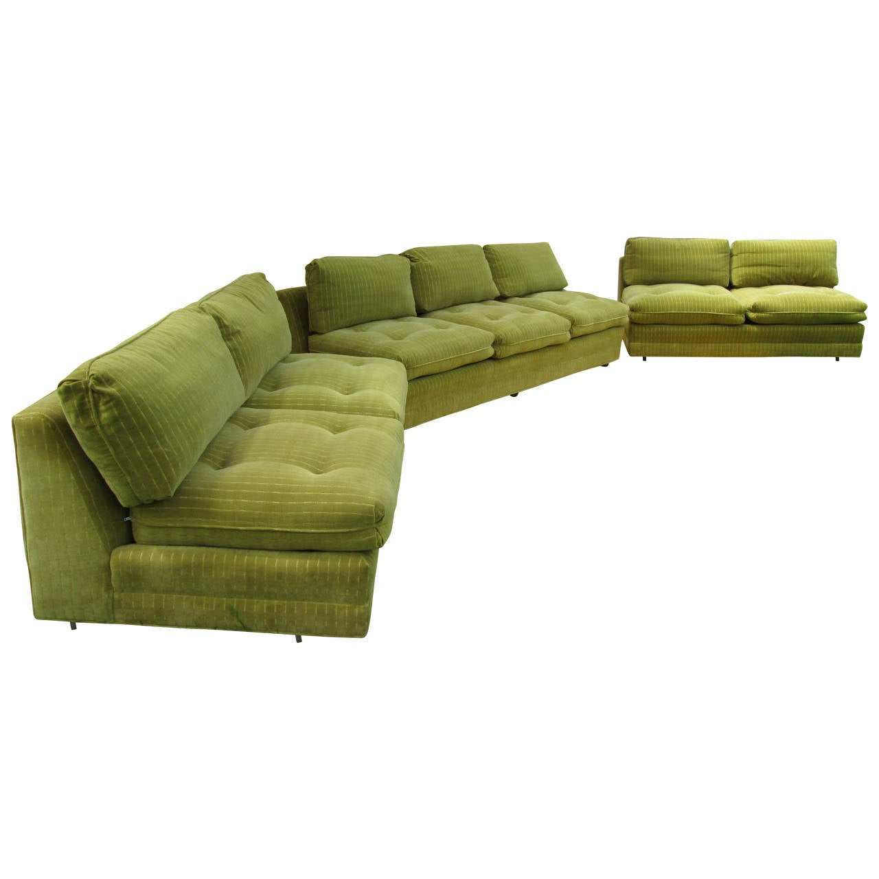 Henredon Three Piece Velvet Sofa
