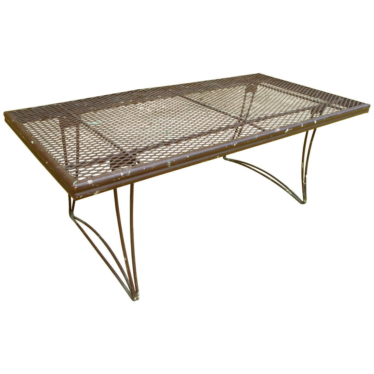 Brown Perforated Metal Outdoor Coffee Table At 1stdibs