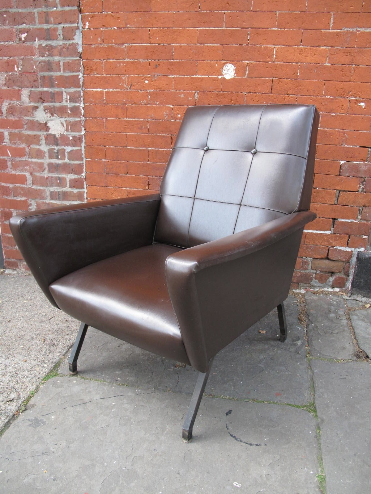 Mid Century Brown Vinyl Covered Armchair at 1stdibs