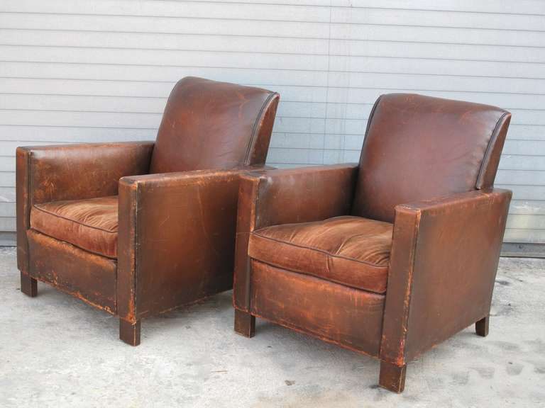 Pair of French Deco Leather Club Chairs at 1stdibs