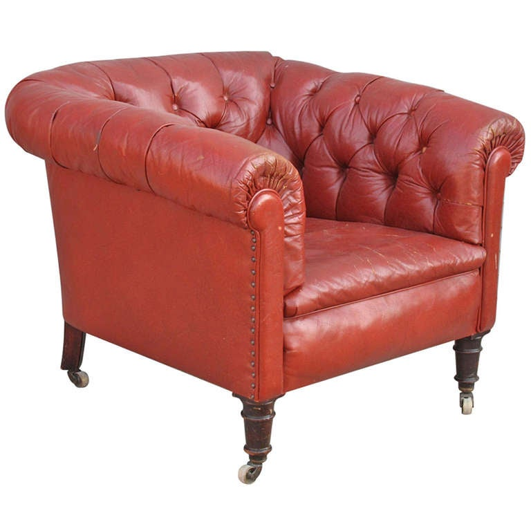 Red Leather Chesterfield Style Club Chair