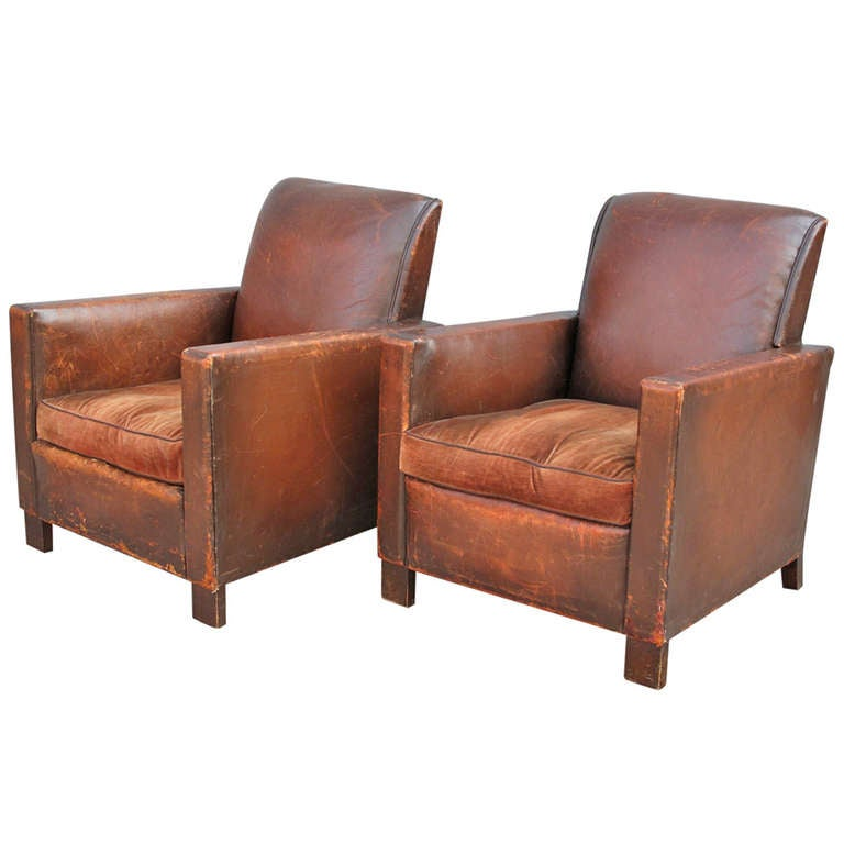 Pair of french deco leather club chairs at 1stdibs - Club deco ...