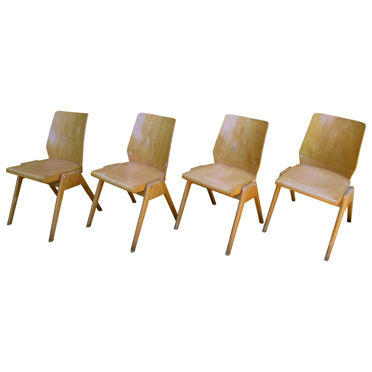 Set Of Four Mid Century Modern Stacking Chairs 1