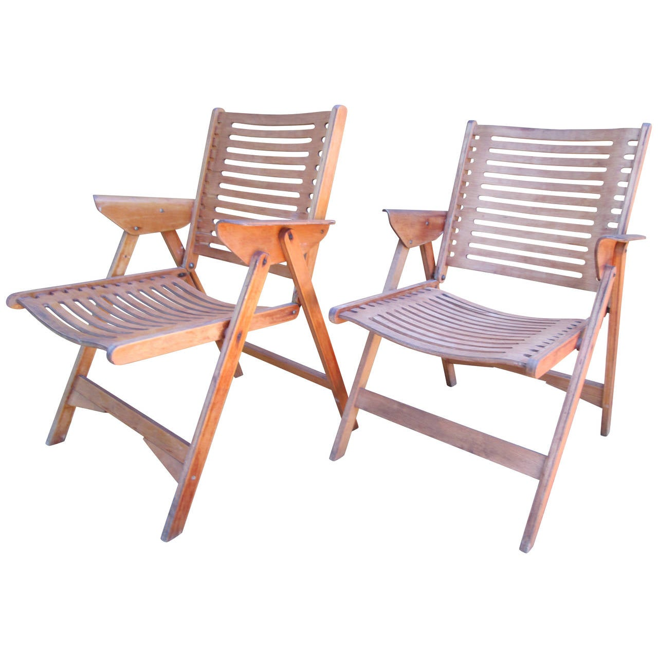 Pair of Mid Century Folding Deck Chairs at 1stdibs