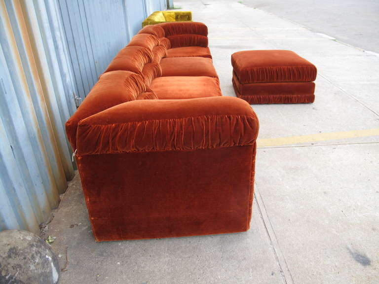 Schweiger Rust Velvet Sectional Sofa At 1stdibs