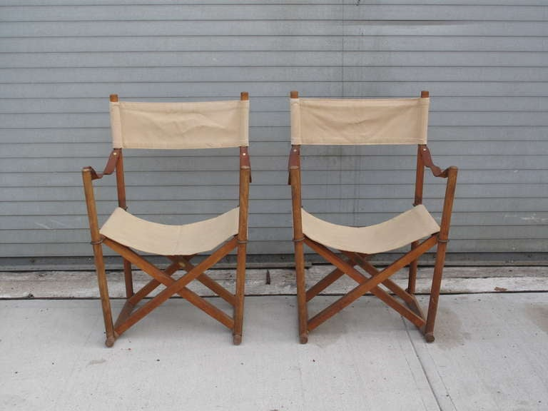 Pair Of Folding Chairs Mogens Koch Denmark At 1stdibs