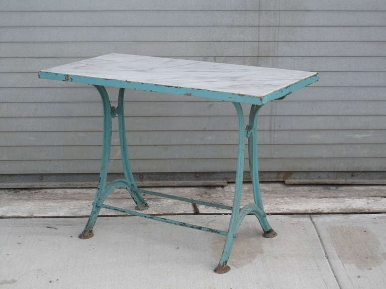 Cast iron industrial marble top console table at 1stdibs for Cast iron table base marble top