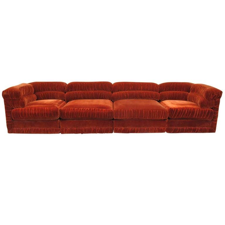 Good Schweiger Rust Velvet Sectional Sofa 1