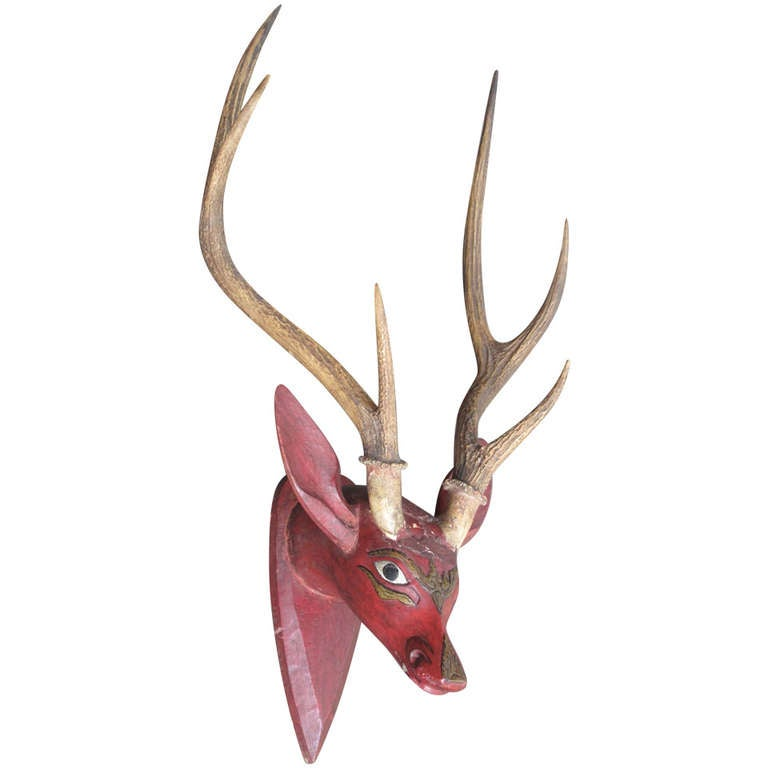 Handcarved Asian Stag With Real Antlers At 1stdibs