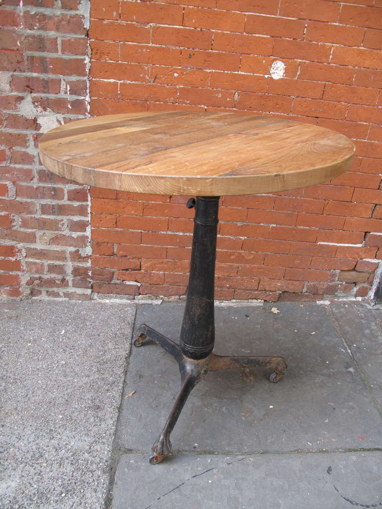Industrial Cast Iron Drafting Table Base With Round Oak