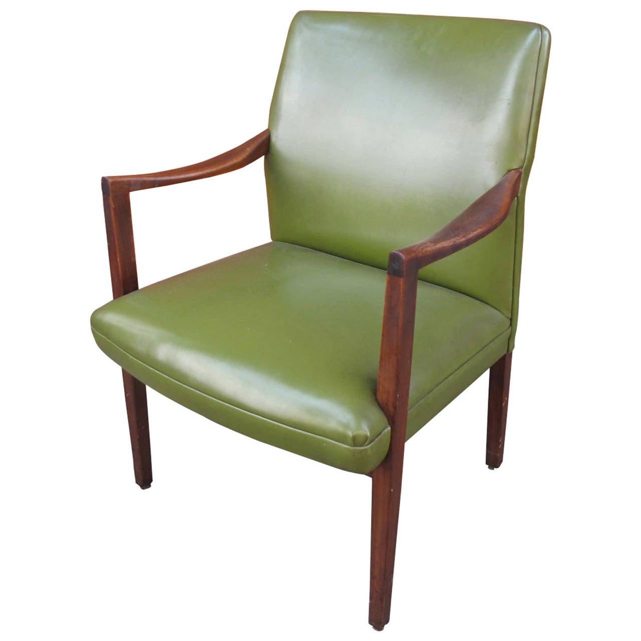 Mid Century Modern Armchairs: Mid-Century Modern Green Vinyl Armchair At 1stdibs