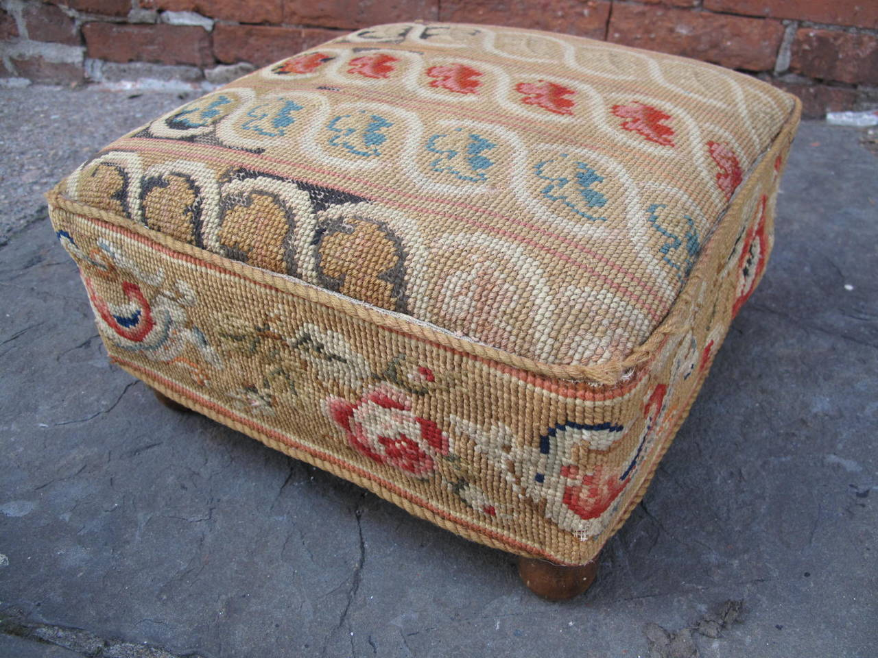 Pair Of Needlepoint Footstools For Sale At 1stdibs