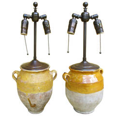 Pair of Small Pots Converted to Lamps