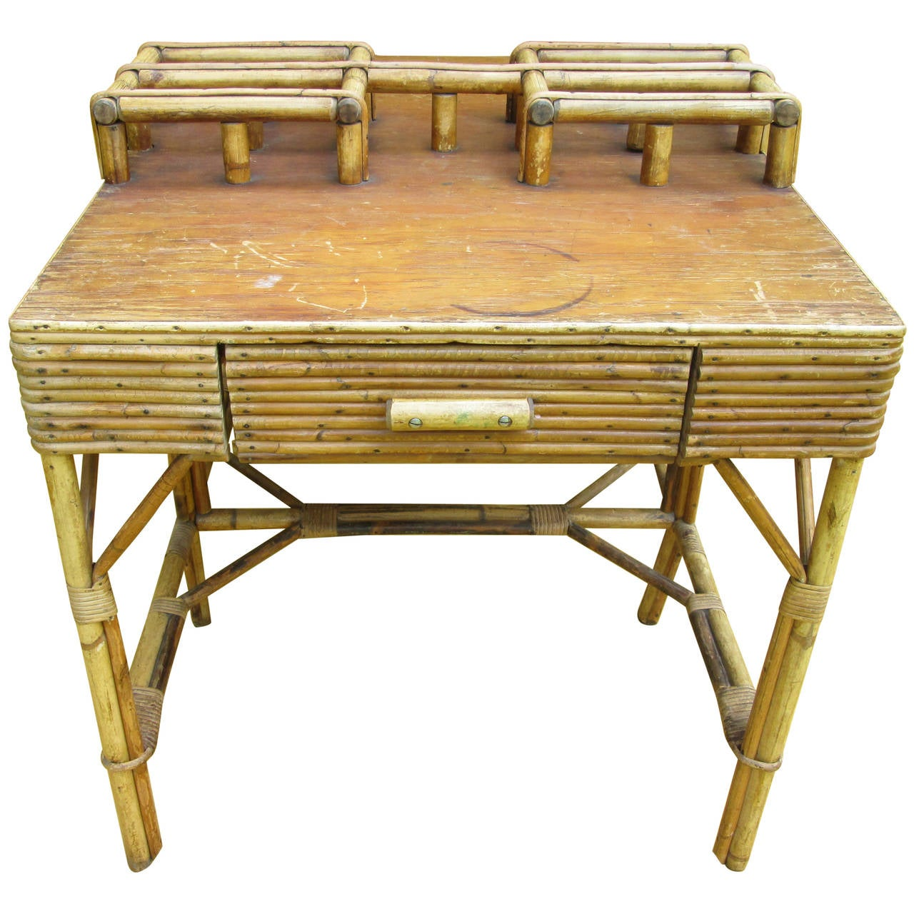 Marvelous photograph of Double Sided Bamboo Desk at 1stdibs with #9C782F color and 1280x1280 pixels