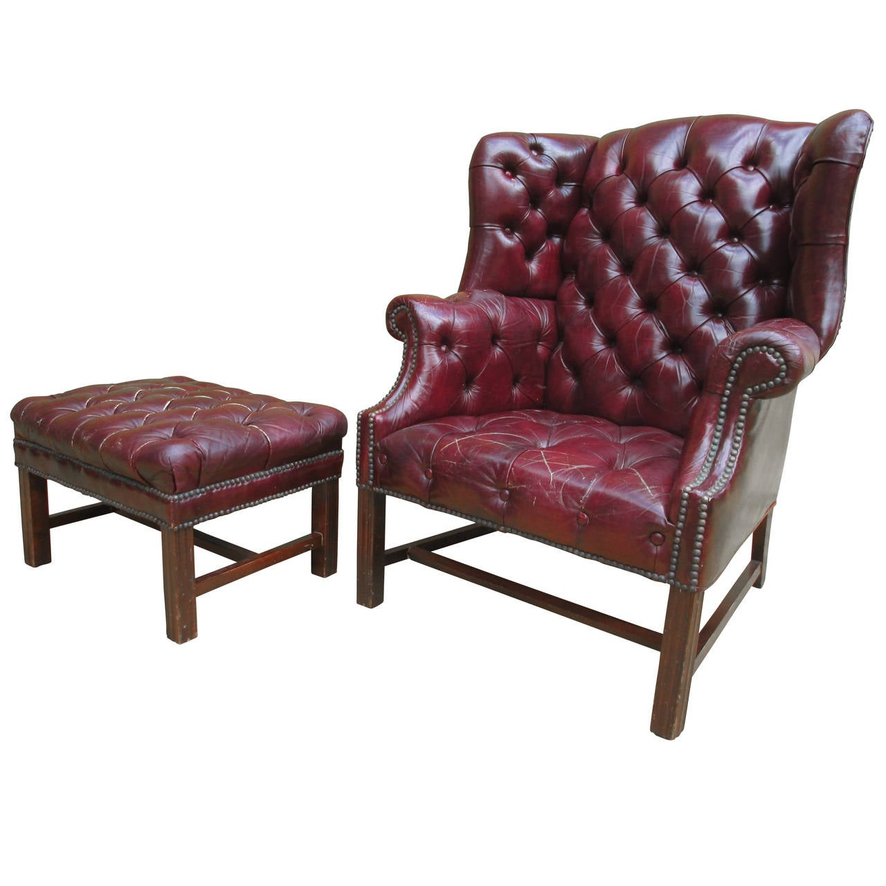 Tufted Wingback Chair and Ottoman at 1stdibs