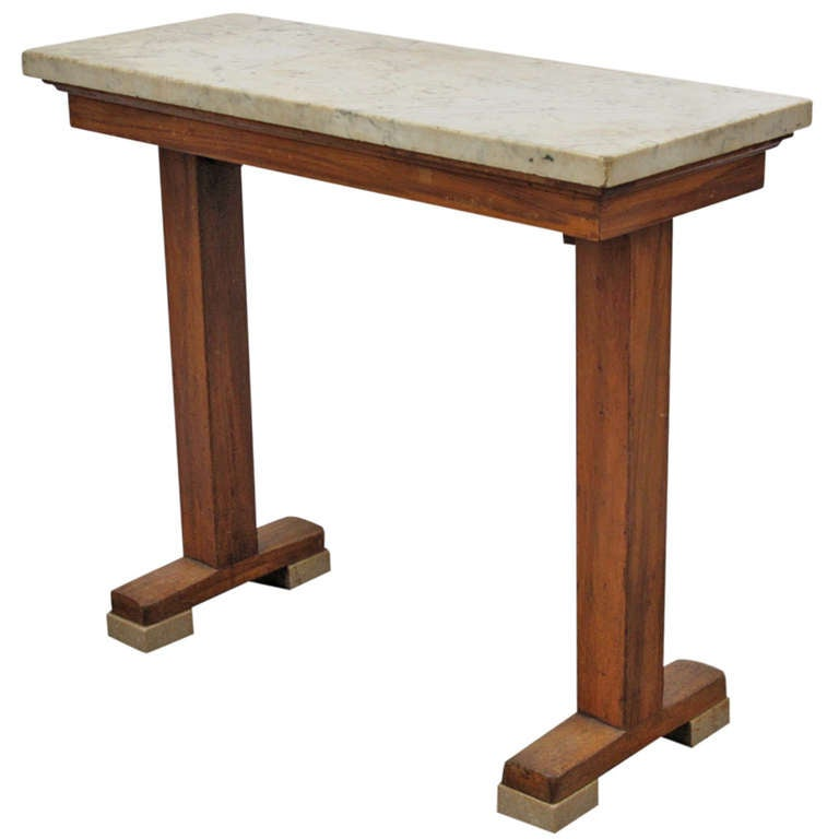 art deco console table with white marble top and feet at 1stdibs. Black Bedroom Furniture Sets. Home Design Ideas