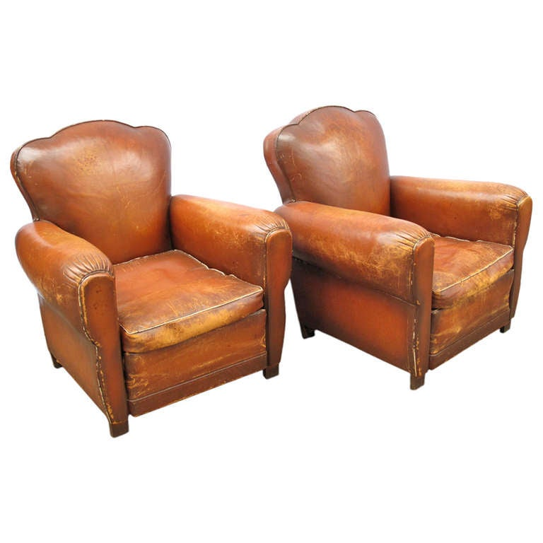 french leather chairs. pair of french leather clover back club chairs 1