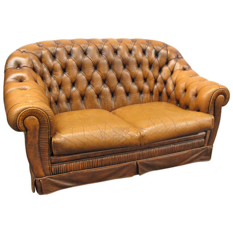 Highback Tufted Leather Chesterfield Loveseat With Pleated
